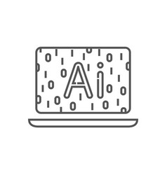 laptop with binary code ai conceptsoftware vector image