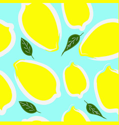lemons with leaves seamless pattern vector image