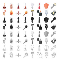 Light source set icons in cartoon style big vector