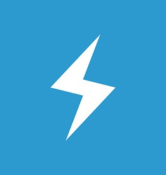lightning icon white on the blue background vector image
