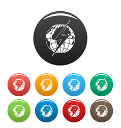 Lightning on earth icons set color vector