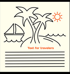 Linear picture of leaflets for tourists vector