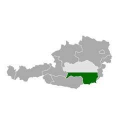 Map of Austria with flag of Styria vector