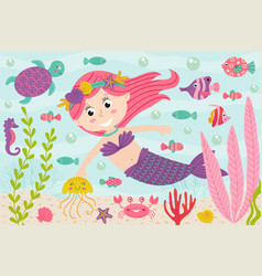 mermaid underwater with nautical animals vector image