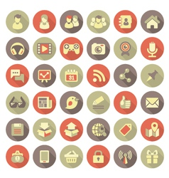 Modern Flat Social Networking Icons vector image