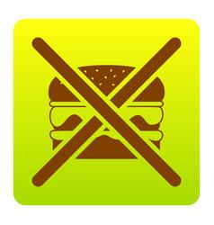 no burger sign brown icon at green-yellow vector image