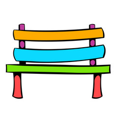 park bench icon icon cartoon vector image