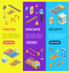 parking signs 3d banner vecrtical set isometric vector image