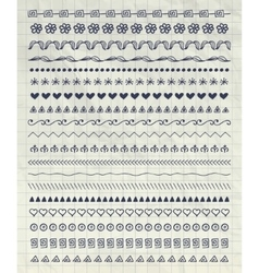 Pen drawing pattern brushes line borders vector