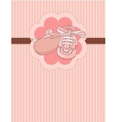 Pink baby shoes place card vector