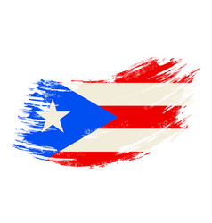 Puerto rican flag grunge brush background vector