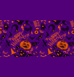 Purple halloween pattern vector