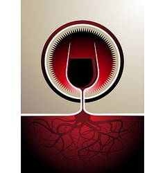 Red wine icon with the glass as the vine vector image