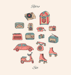 Retro set with antique tech car scooter jukebox vector