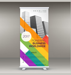 Roll up banner template with colorful lines for vector