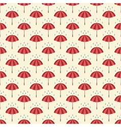 Seamless pattern with umbrellas and rain drops vector