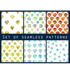 Set of seamless patterns with colorful diamonds vector image