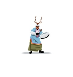 Shaman with a tambourine sign vector image