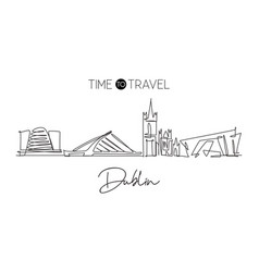Single continuous line drawing dublin city vector