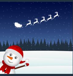 Snowman escorts santa claus in woods vector