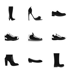 sturdy shoes icons set simple style vector image