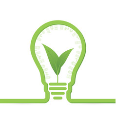 Thnk green concept light bulbs with leaf inside vector