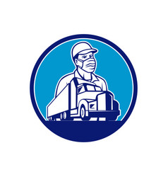Truck driver wearing mask transport circle mascot vector