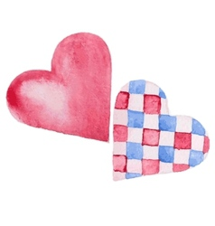 two hearts watercolor vector image