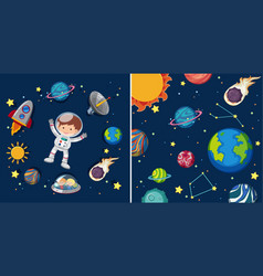 Two space scenes with planets and astronaut vector