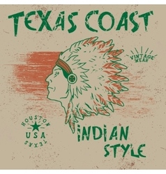 Vintage label with indian chief vector image