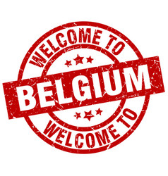 welcome to belgium red stamp vector image
