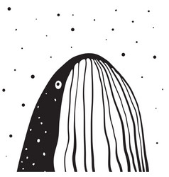 Whale monochrome vertical design vector
