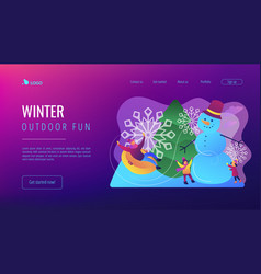 Winter outdoor fun concept landing page vector