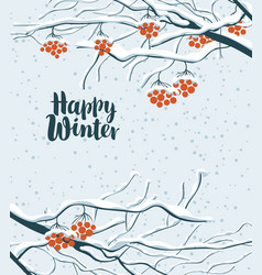 Winter snowy landscape with branches of rowan tree vector
