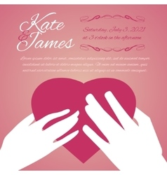 Woman and man hands with heart vector image