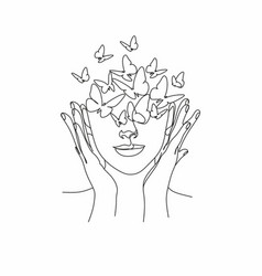 Woman face with butterfly one line drawing vector