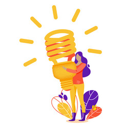Woman with fluorescent lamp in search of new vector