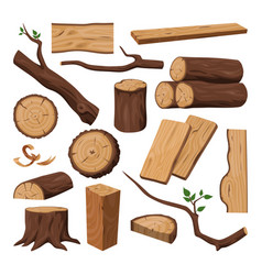 Wooden log chopped trunk timber and tree branch vector