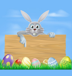 wooden sign easter eggs and bunny vector image