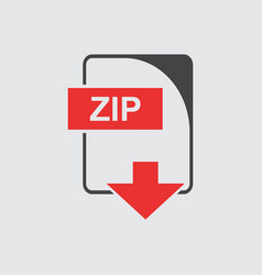 Zip icon flat vector