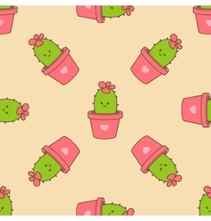 cactus in a pot seamless pattern vector image vector image