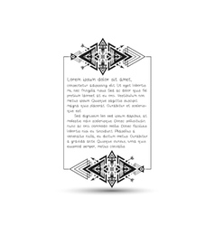 Citation text box tribal style frame with place vector image vector image