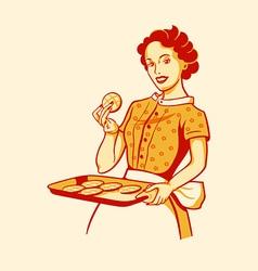 Cooking housewife vector