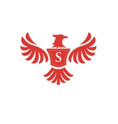 elegant phoenix with letter s logo vector image vector image