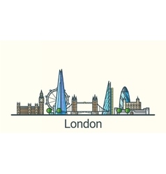 Flat line London banner vector image