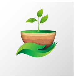 green leaf in hand shape holding sapling vector image vector image