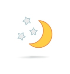 Moon and stars at night vector image