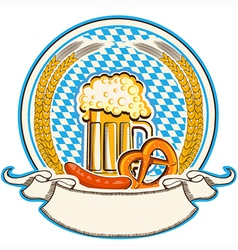 oktoberfest label with beer and food Bavaria flag vector image