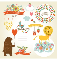 set of holiday graphic elements and cute animals vector image vector image