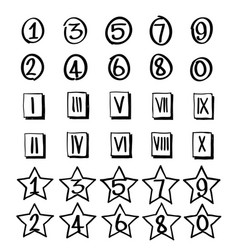 set of numbers in hand drawn vector image